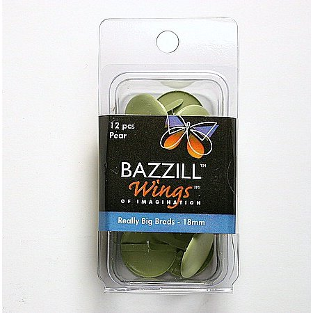 Bazzill Basics - Really Big Brads - 18 mm - Pear, CLEARANCE