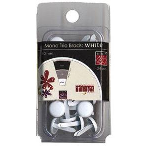 Bazzill Basics - Mono Trio Brads - Round 10mm - White, CLEARANCE