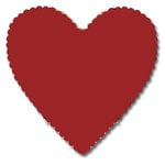Bazzill Basics - 12x12 Heart Cardstock - Ruby Slipper - Red