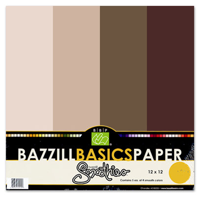 Bazzill Basics - Bazzill Smoothies - 4 Colors - 12x12 Cardstock - Chocolate Cream