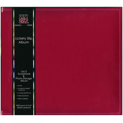 Bazzill Basics - Lickety Slip - 12x12 D-Ring Album - Ruby Slipper