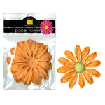Bazzill Basics - Paper Flowers - Gerbera 4 Inch - Creamsicle, CLEARANCE