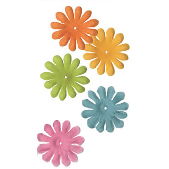 Bazzill Basics - Bitty Blossoms - 60 Assorted Flowers - 1.5 Inch - Garden Mix