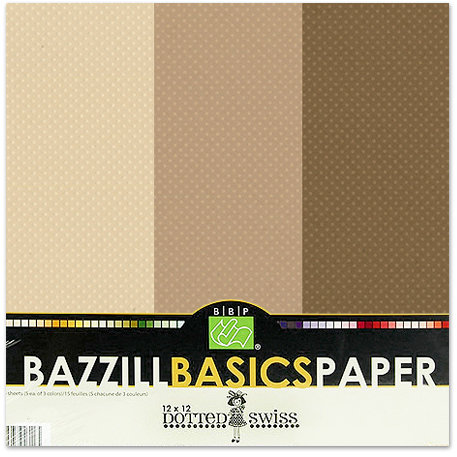 Bazzill - Dotted Swiss - 12 x 12 Cardstock Pack - 15 Sheets - Mud Puddle Trio