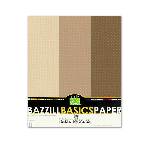 Bazzill - Dotted Swiss - 8.5 x 11 Cardstock Pack - 15 Sheets - Mud Puddle Trio