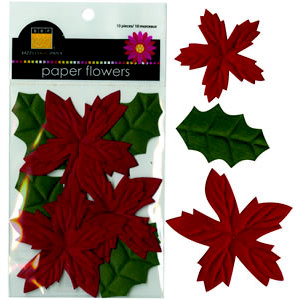 Bazzill Basics - Paper Flowers - Poinsettias and Holly Leaves - Red