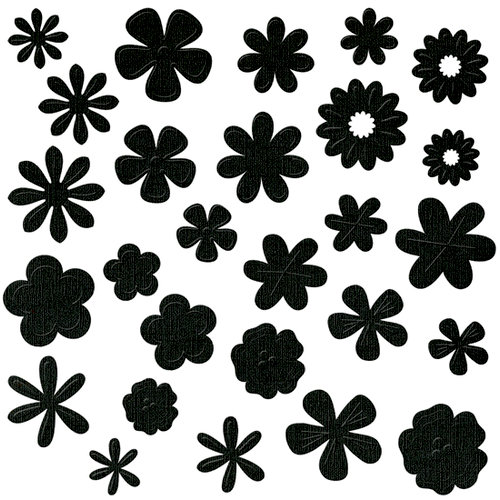 Bazzill Basics - Flower Pot Collection - Shimmer Paper Flowers - Black Tie, CLEARANCE