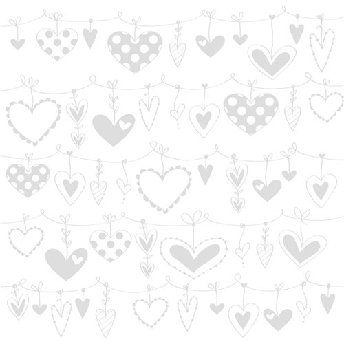 Bazzill Basics - 12 x 12 Glazed Cardstock - String of Hearts - Lily White