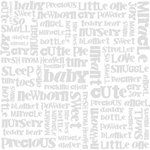 Bazzill - 12 x 12 Glazed Cardstock - Baby Words - Lily White
