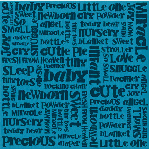 Bazzill - 12 x 12 Glazed Cardstock - Boy Baby Words - Artesian Pool