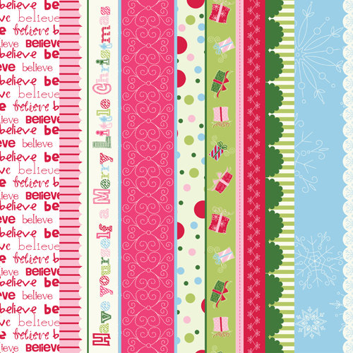 Bazzill - Holiday Style Collection - Christmas - Lickety Slip - 12 x 12 Double Sided Paper - Borders