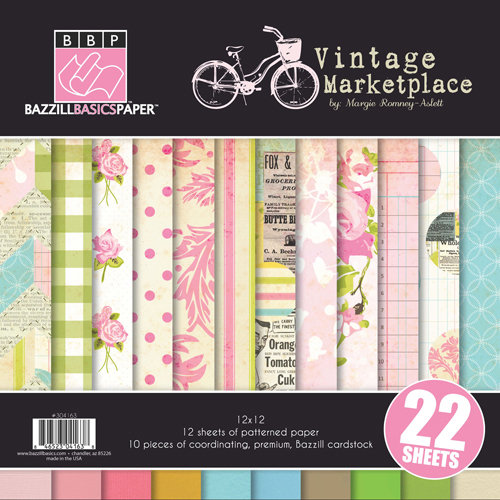 Bazzill Basics - Margie Romney-Aslett - Vintage Marketplace Collection - 12 x 12 Assortment Pack