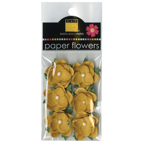 Bazzill Basics - Janet Hopkins - Wayfarer Collection - Paper Flowers - Yukon Gold