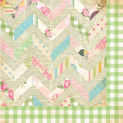 Bazzill - Margie Romney-Aslett - Vintage Marketplace Collection - 12 x 12 Double Sided Paper - Quilted Chevron
