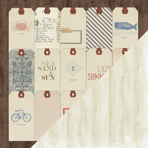 Bazzill - Beach House Collection - 12 x 12 Double Sided Paper - House Tags