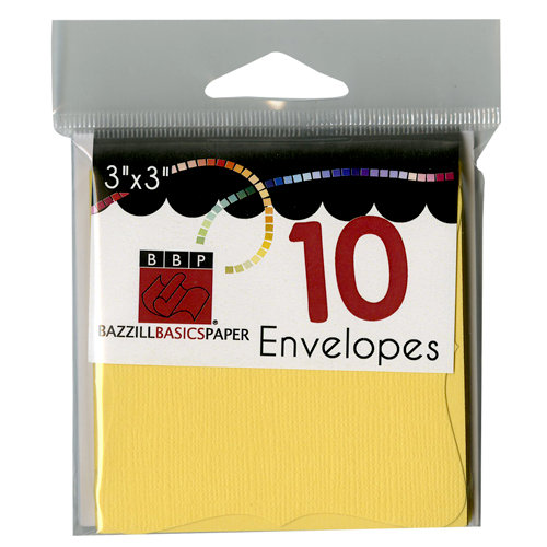Bazzill Basics - Cards and Envelopes - 10 Pack - 3 x 3 Bracket - Sunbeam
