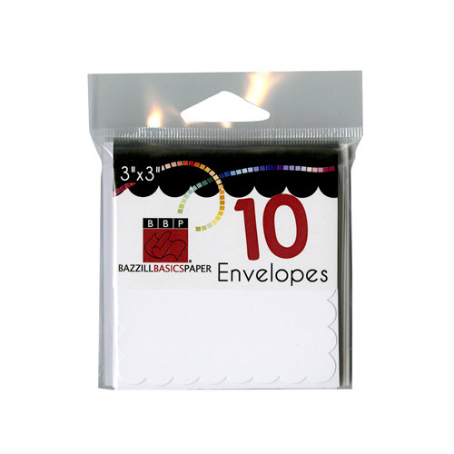 Bazzill - Cards and Envelopes - 10 Pack - 3 x 3 Scallop - White