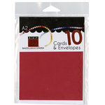 Bazzill - Cards and Envelopes - 10 Pack - A2 Scallop - Cherry Splash