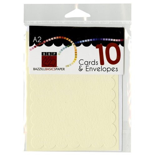 Bazzill - Cards and Envelopes - 10 Pack - A2 Scallop - Butter Cream