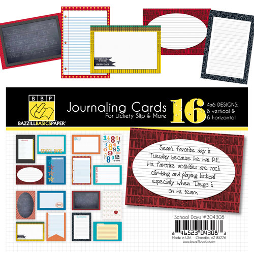 Bazzill - School Days Collection - Lickety Slip - 4 x 6 Journaling Cards