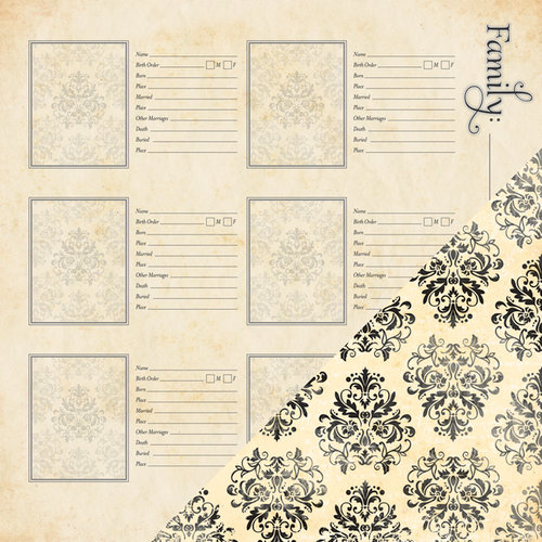 Bazzill - Heritage Collection - 12 x 12 Double Sided Paper - More Family Names