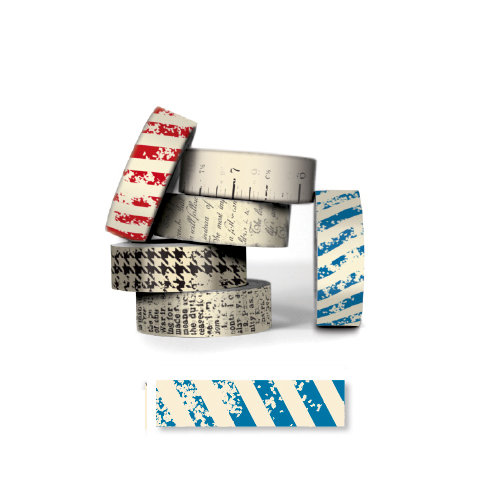Bazzill - Antique Paper Tape - Nautical Blue Stripe
