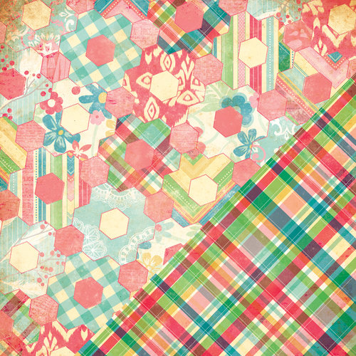 Bazzill - Margie Romney Aslett - Ambrosia Collection - 12 x 12 Double Sided Paper - Hexagon Quilt