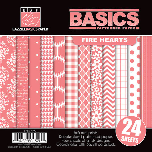 Bazzill - Basics Collection - 6 x 6 Assortment Pack - Fire Hearts