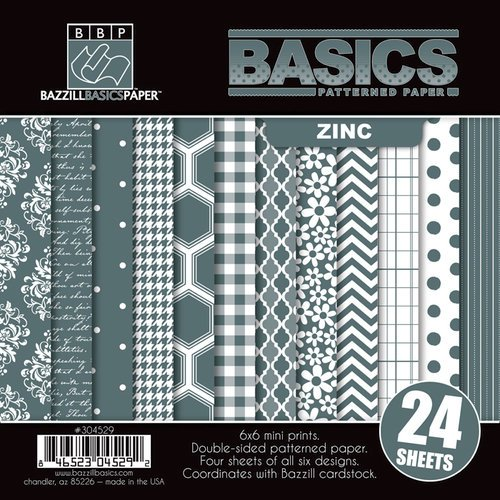 Bazzill - Basics Collection - 6 x 6 Assortment Pack - Zinc
