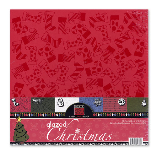 Bazzill Basics - 12 x 12 Christmas Glazed Cardstock Pack - 12 Sheets