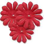 Bazzill Basics - Bitty Blossoms Flowers - Approximately 35 Pieces - Ruby Red