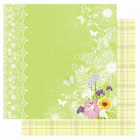 Best Creation Inc - A Walk in the Garden Collection - 12 x 12 Double Sided Glitter Paper - Butterfly Love