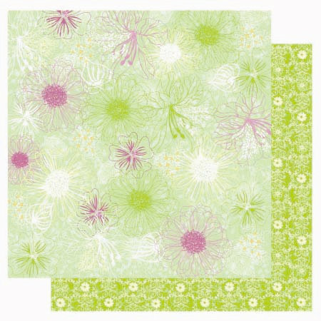 Best Creation Inc - A Walk in the Garden Collection - 12 x 12 Double Sided Glitter Paper - Blooming