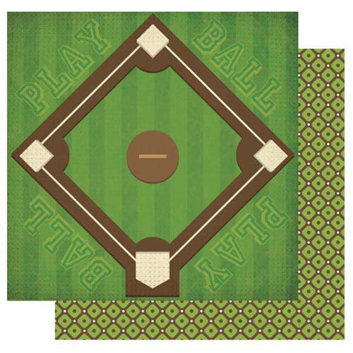 Best Creation Inc - Baseball Collection - 12 x 12 Double Sided Glitter Paper - Bases Loaded