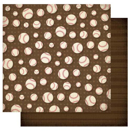 Best Creation Inc - Baseball Collection - 12 x 12 Double Sided Glitter Paper - Home Run