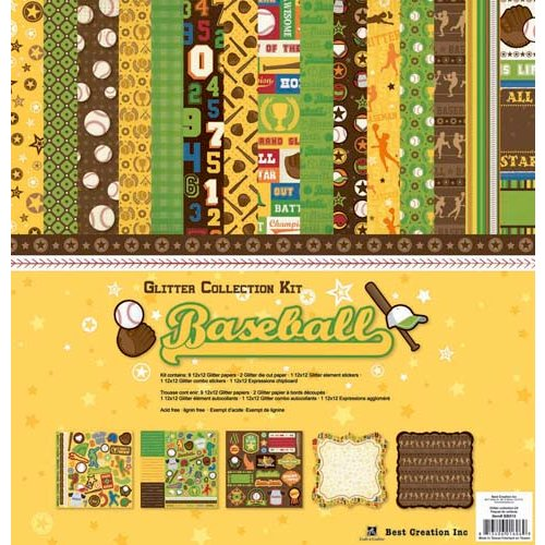 Best Creation Inc - Baseball Collection - 12 x 12 Glittered Collection Kit