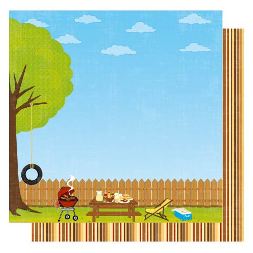 Best Creation Inc - Barbeque Collection - 12 x 12 Double Sided Glitter Paper - Backyard Barbeque