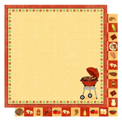 Best Creation Inc - Barbeque Collection - 12 x 12 Double Sided Glitter Paper - Cook Out
