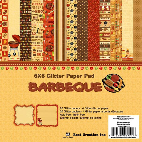 Best Creation Inc - Barbeque Collection - 6 x 6 Glittered Paper Pad
