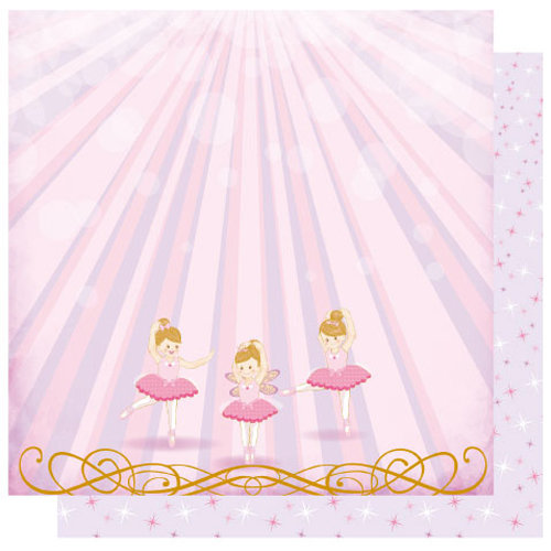 Best Creation Inc - Ballet Princess Collection - 12 x 12 Double Sided Glitter Paper - Live Love Dance