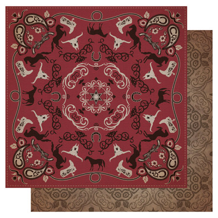 Best Creation Inc - Cowboy Collection - 12 x 12 Double Sided Glitter Paper - Red Bandana