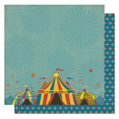Best Creation Inc - Circus Circus Collection - 12 x 12 Double Sided Glitter Paper - Under the Big Top