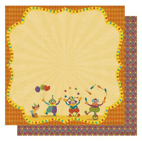 Best Creation Inc - Circus Circus Collection - 12 x 12 Double Sided Glitter Paper - Happy Clown