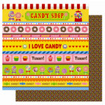 Best Creation Inc - Candy Shop Collection - 12 x 12 Double Sided Glitter Paper - Candy Shop Stripes