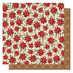 Best Creation Inc - Christmas Wishes Collection - 12 x 12 Glittered Paper - Poinsettia