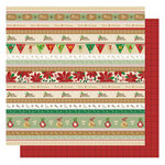Best Creation Inc - Christmas Wishes Collection - 12 x 12 Glittered Paper - Christmas Stripes