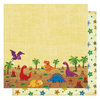 Best Creation Inc - Dinosaur Collection - 12 x 12 Double Sided Glitter Paper - Dino-Fun