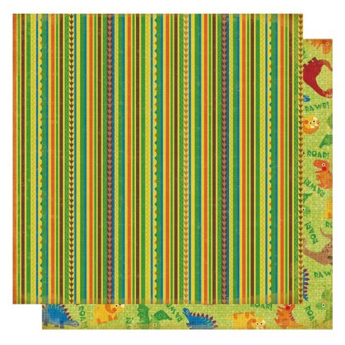 Best Creation Inc - Dinosaur Collection - 12 x 12 Double Sided Glitter Paper - Dinosaur Stripe