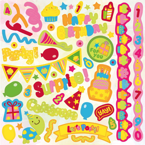 Best Creation Inc - Let's Party! Collection - Glittered Cardstock Stickers - Element