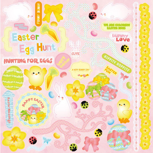 Best Creation Inc - Bunny Love Collection - Glittered Cardstock Stickers - Element